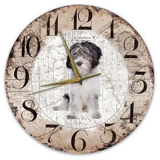 Creatief Art Houten Klok - 30cm - Hond - Nederlandse Schapendoes