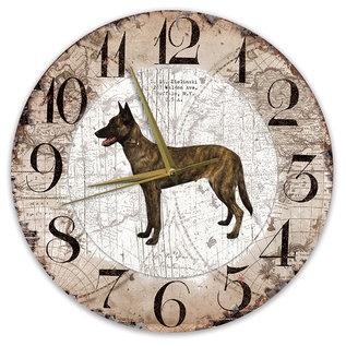 Creatief Art Houten Klok - 30cm - Hond - Hollandse Herder (korthaar)