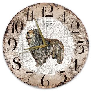 Creatief Art Houten Klok - 30cm - Hond - Bergamasco