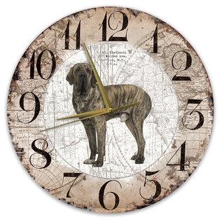 Creatief Art Houten Klok - 30cm - Hond - Fila Btasileiro