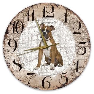 Creatief Art Houten Klok - 30cm - Hond - Boxer bruin