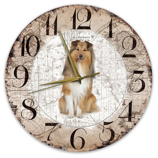 Creatief Art Houten Klok - 30cm - Hond - Shetland Scheepdog (Sheltie)