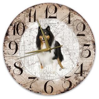 Creatief Art Houten Klok - 30cm - Hond - Schotse Herdershond