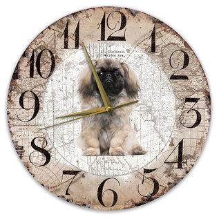 Creatief Art Houten Klok - 30cm - Hond - Pekingees