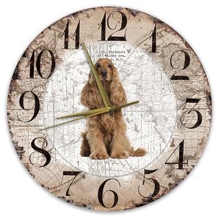 Creatief Art Houten Klok - 30cm - Hond - Engelse Cocker