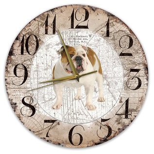 Creatief Art Houten Klok - 30cm - Hond - Engelse Buldog