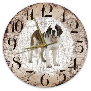 Creatief Art Houten Klok - 30cm - Hond - Sint Bernard