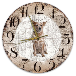 Creatief Art Houten Klok - 30cm - Hond - Australian Cattle Dog