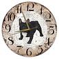 Creatief Art Houten Klok - 30cm - Hond - Buldog zwart