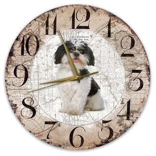 Creatief Art Houten Klok - 30cm - Hond - Boomer