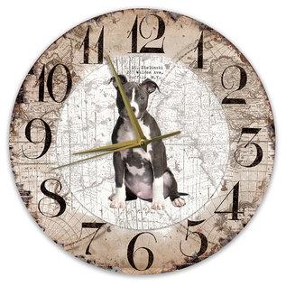 Creatief Art Houten Klok - 30cm - Hond - American staffordshire terriër