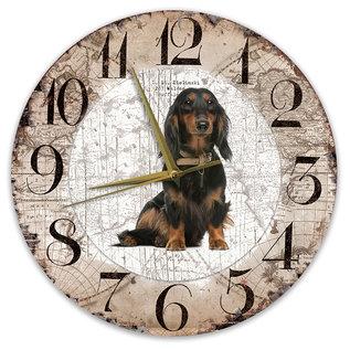 Creatief Art Houten Klok - 30cm - Hond - Teckel langharig