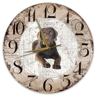 Creatief Art Houten Klok - 30cm - Hond - Labrador bruin