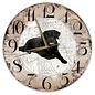 Creatief Art Houten Klok - 30cm - Hond - Labrador zwart