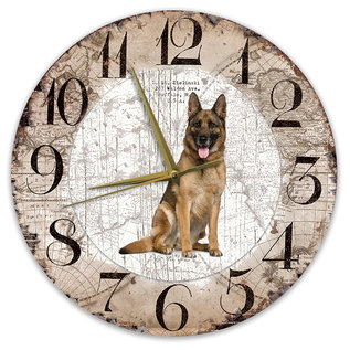 Creatief Art Houten Klok - 30cm - Hond - Duitse herder