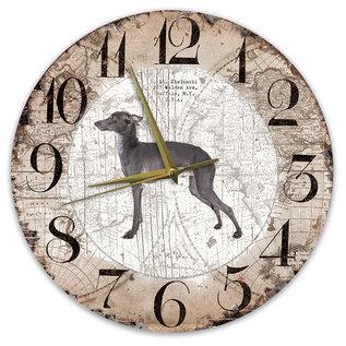 Creatief Art Houten Klok - 30cm - Hond - Italiaanse windhond