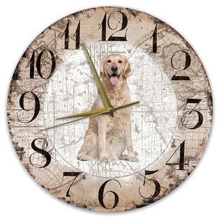 Creatief Art Houten Klok - 30cm - Hond - Golden Retriever