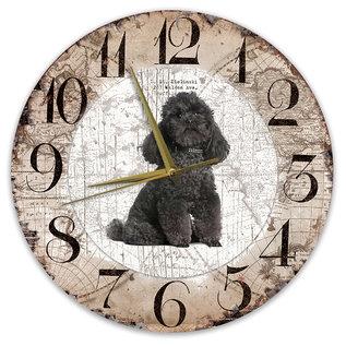 Creatief Art Houten Klok - 30cm - Hond - Poedel zwart