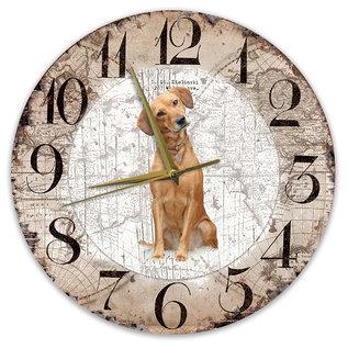 Creatief Art Houten Klok - 30cm - Hond - labrador blond