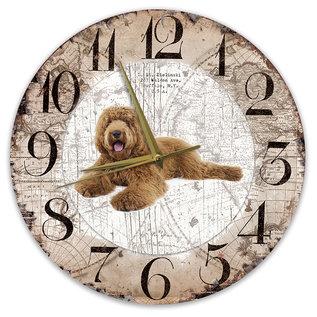 Creatief Art Houten Klok - 30cm - Hond - labradodel bruin
