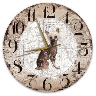 Creatief Art Houten Klok - 30cm - Hond - Naakthond
