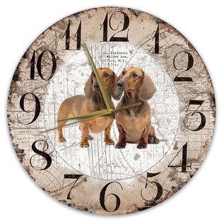 Creatief Art Houten Klok - 30cm - Hond - Tekkel