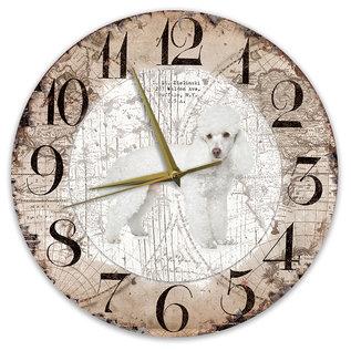 Creatief Art Houten Klok - 30cm - Hond - Poedel