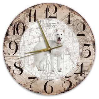 Creatief Art Houten Klok - 30cm - Hond - Husky