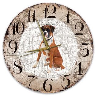 Creatief Art Houten Klok - 30cm - Hond - Boxer