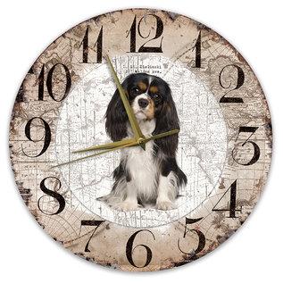 Creatief Art Houten Klok - 30cm - Hond - King Charles