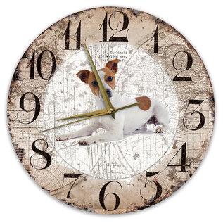 Creatief Art Houten Klok - 30cm - Hond - Jack Russel