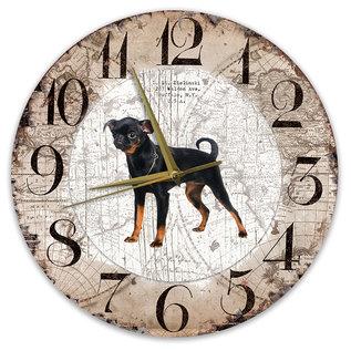 Creatief Art Houten Klok - 30cm - Hond - Petit Brabancon