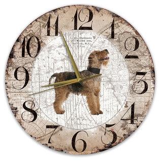 Creatief Art Houten Klok - 30cm - Hond - Fox Terrier