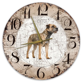 Creatief Art Houten Klok - 30cm - Hond - Border Terriër