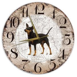 Creatief Art Houten Klok - 30cm - Hond - Dwergpincher