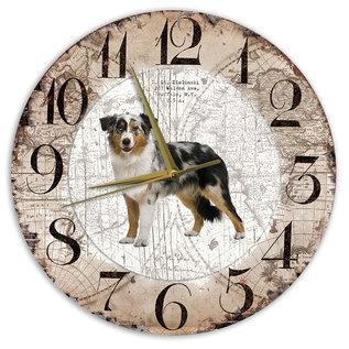 Creatief Art Houten Klok - 30cm - Hond - Bordercollie Tricolor