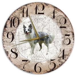 Creatief Art Houten Klok - 30cm - Hond - Bordercollie