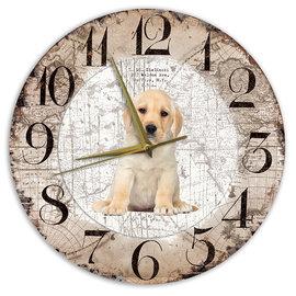 Creatief Art Houten Klok - 30cm - Hond - Labrador Pup