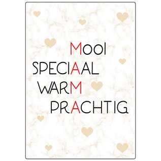 Creatief Art Spreukenbordje: MAMA - Mooi, Speciaal, Warm, Prachtig! | Houten Tekstbord