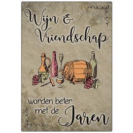 Creatief Art Spreukenbordje: Wijn en vriendschap worden beter met de jaren | Houten Tekstbord