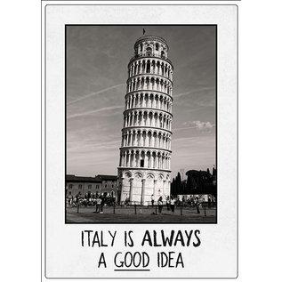 Creatief Art Spreukenbordje: Italy is always a good idea! | Houten Tekstbord