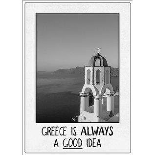 Creatief Art Spreukenbordje: Greece is always a good idea! | Houten Tekstbord