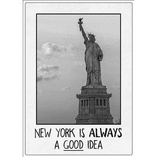 Creatief Art Spreukenbordje: New York is always a good idea! | Houten Tekstbord