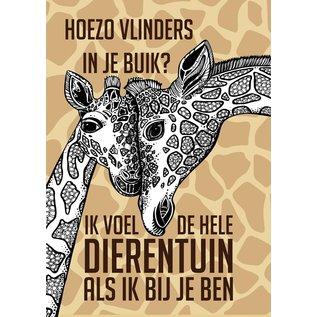 Creatief Art Spreukenbordje: Hoezo vlinders in je buik? Ik voel de hele dierentuin als ik bij je ben! | Houten Tekstbord