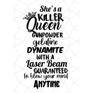 Creatief Art Spreukenbordje: She's a killer Queen (Songtekst) | Houten Tekstbord