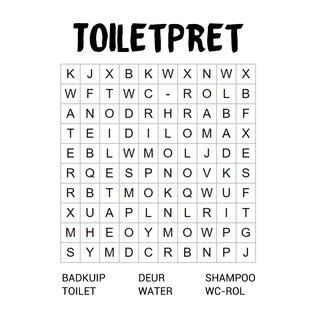 Creatief Art Spreukenbordje: Toiletpret woordzoeker | Houten Tekstbord