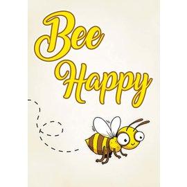 Creatief Art Spreukenbordje: Bee Happy! | Houten Tekstbord