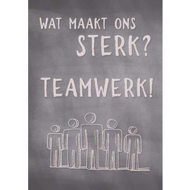 Creatief Art Spreukenbordje: Wat maakt ons sterk? Teamwerk! | Houten Tekstbord