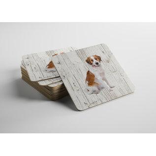 Creatief Art Hond Kooiker | Houten Onderzetters 6 Stuks
