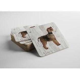 Creatief Art Hond Fox Terrier | Houten Onderzetters 6 Stuks